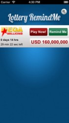 Lottery RemindMe app for iPhone